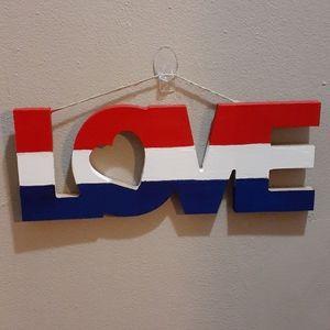 Patriotic Love Art on Wood w/Heart